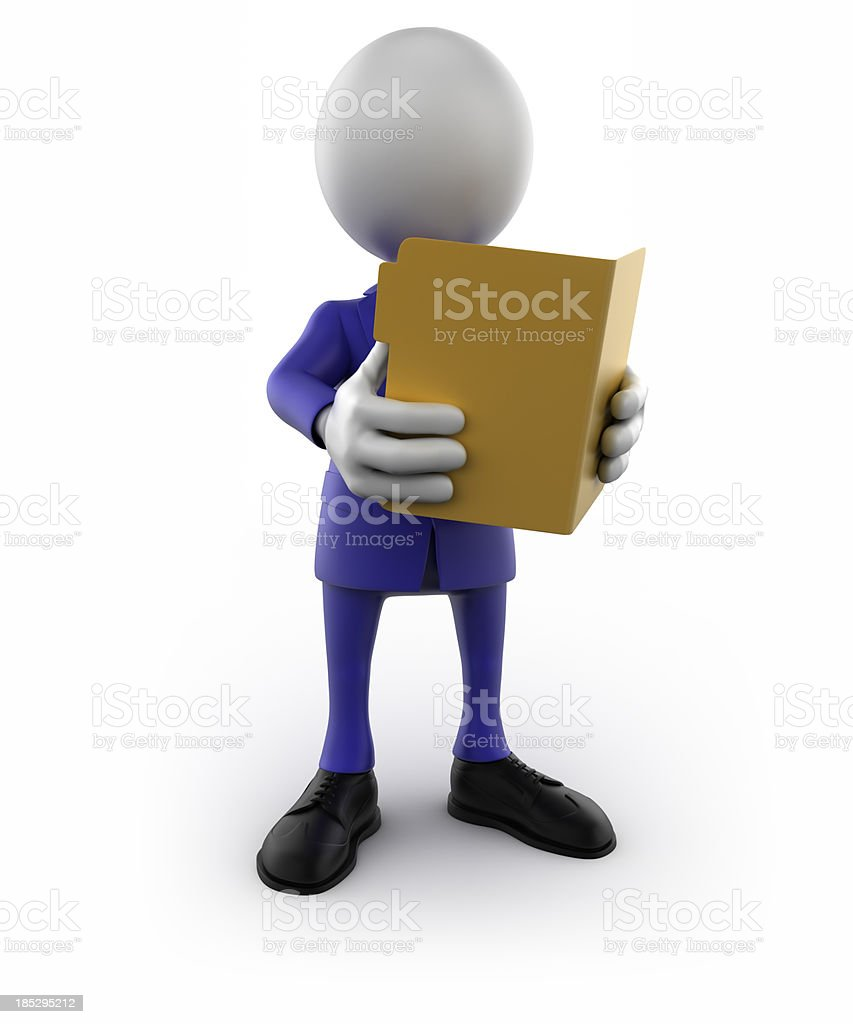 3d businessman reading folder - isolated/clipping path royalty-free stock photo
