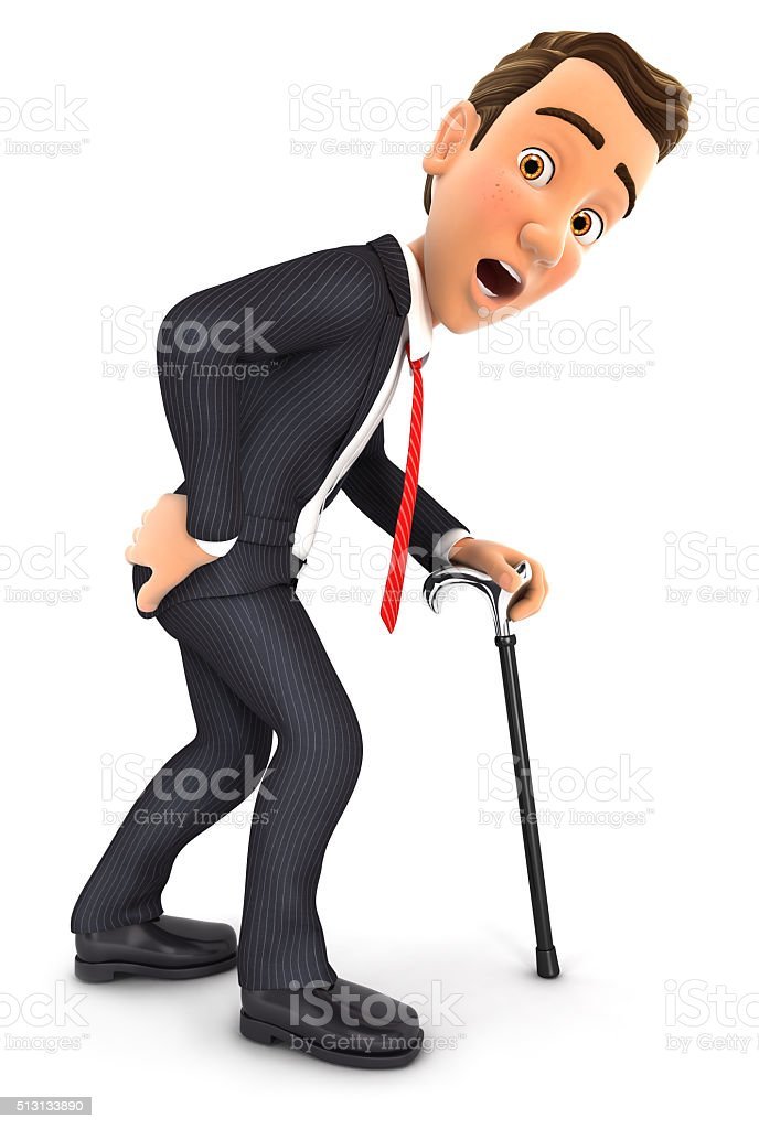3d businessman suffering from back pain stock photo