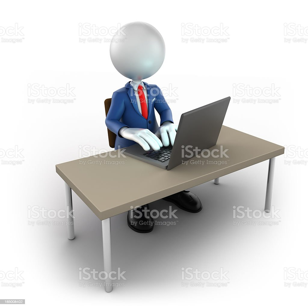3d businessman using laptop, isolated/clipping path royalty-free stock photo