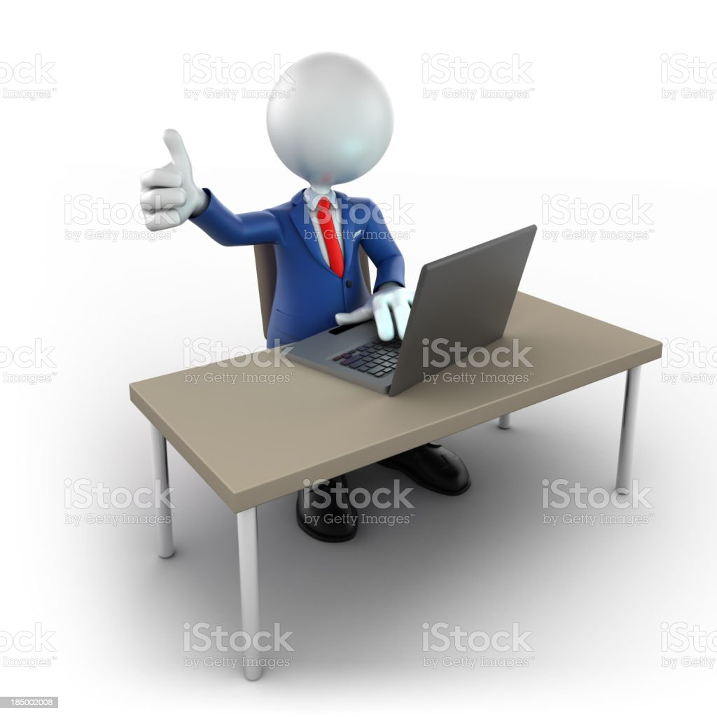 3d businessman using laptop, thumbs up, isolated/clipping path royalty-free stock photo