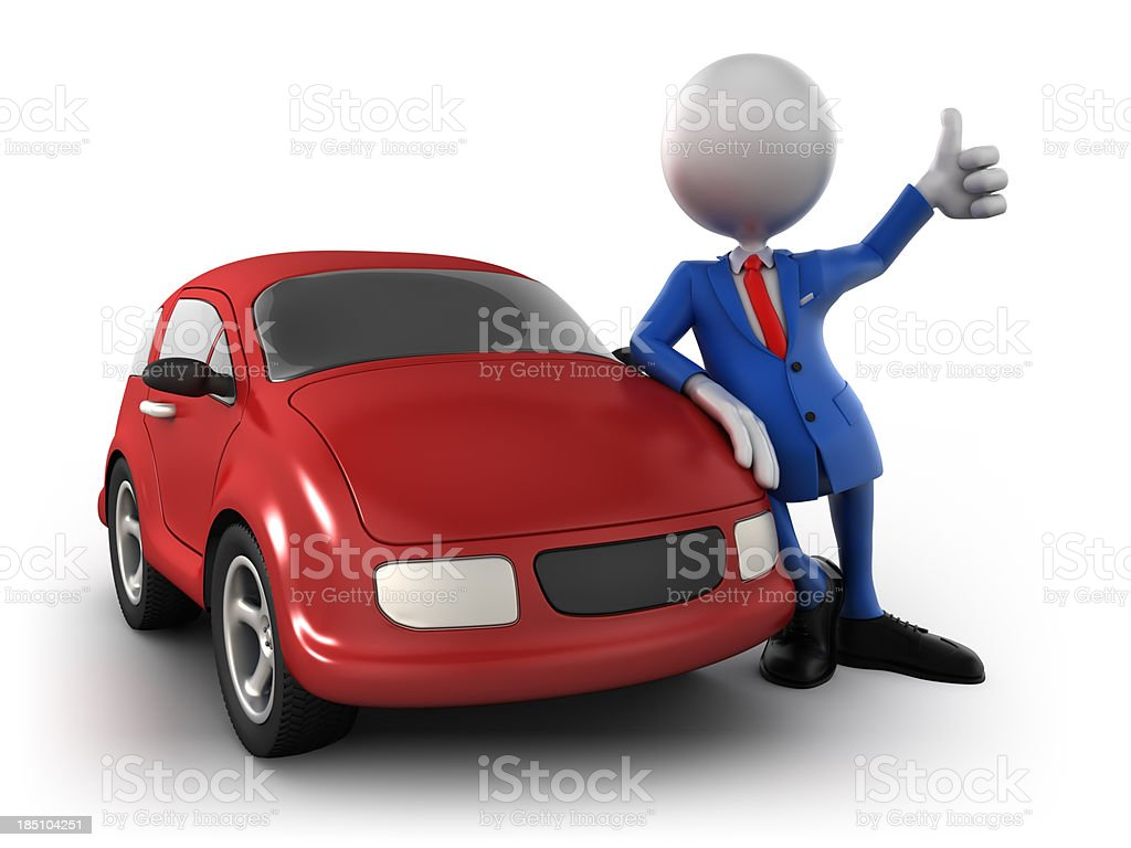 3d businessman with car, isolated w. clipping path stock photo