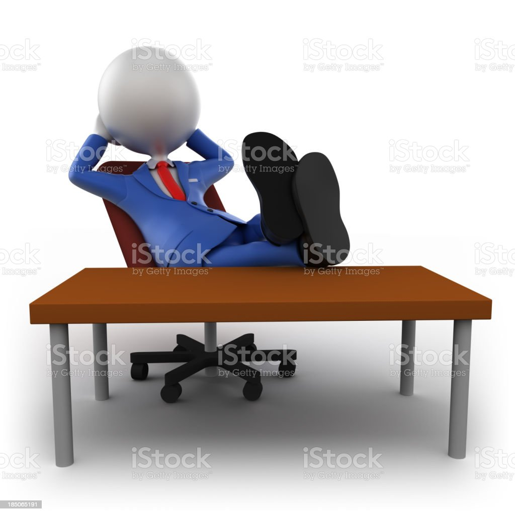 3d businessman with feet on table, isolated/clipping path royalty-free stock photo