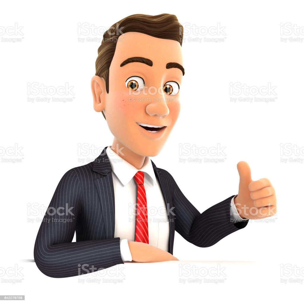 3d businessman with his elbow on the wall and thumb up stock photo