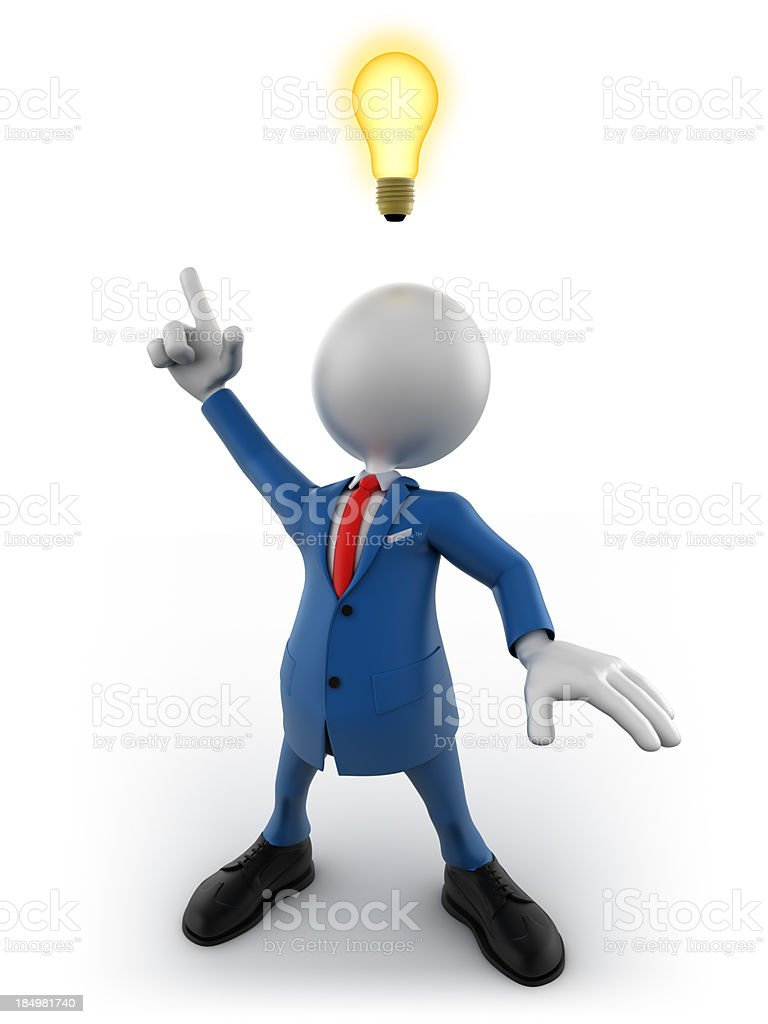 3d businessman with idea lightbulb, isolated w. clipping path royalty-free stock photo