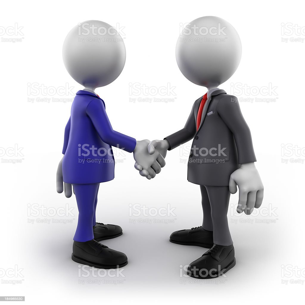 3d businessmen shaking hands, isolated with clipping path royalty-free stock photo