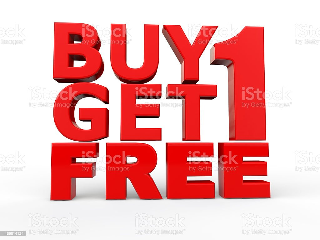 3d buy 1 get 1 free red text stock photo