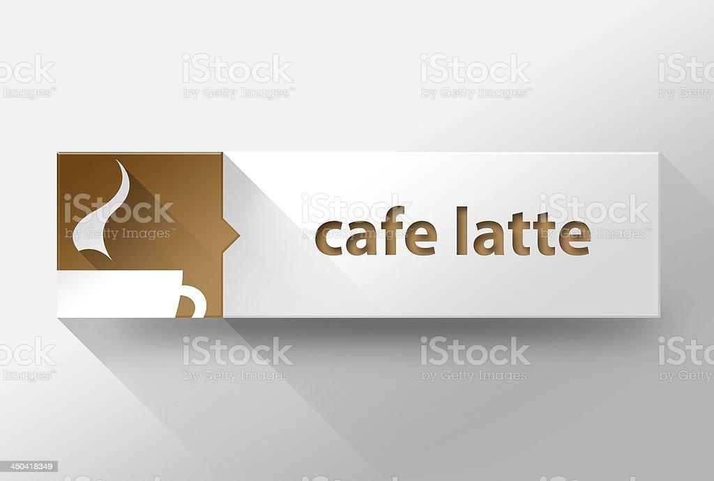 3d Cafe latte coffee flat design, illustration stock photo