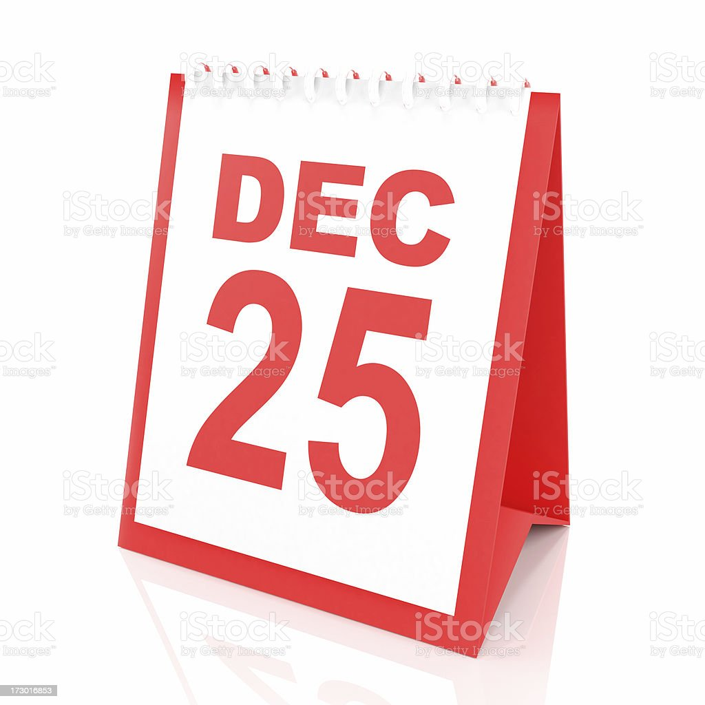 3d calendar with Christmas day royalty-free stock photo