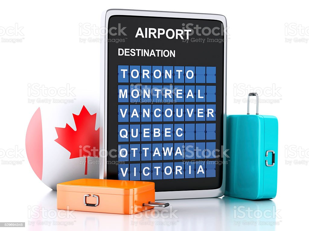 3d Canada airport board and travel suitcases stock photo