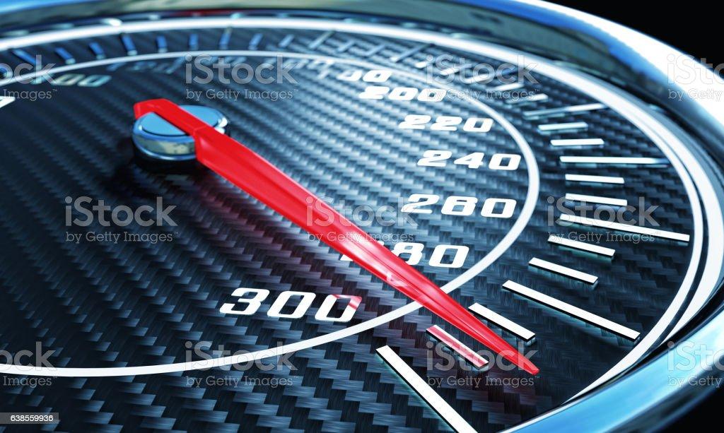 3d carbon speedometer stock photo