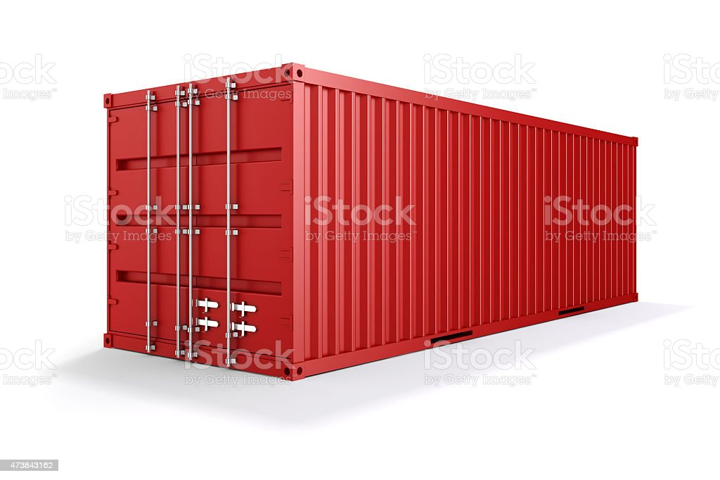 3d cargo container on white background vector art illustration