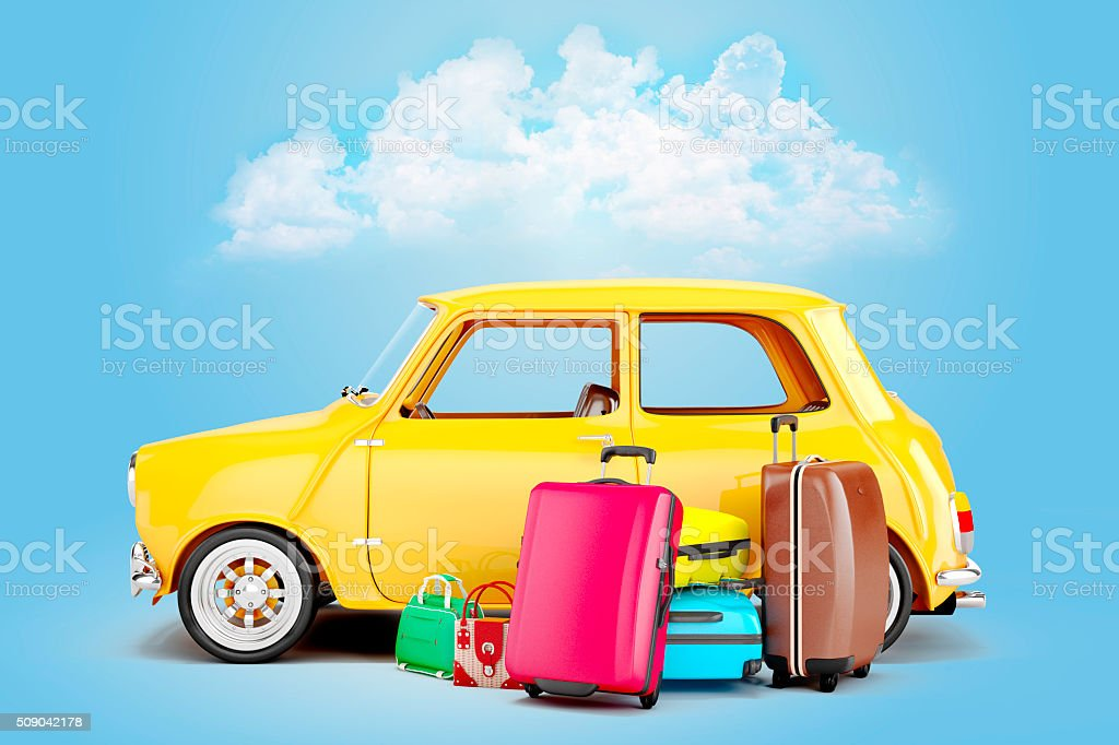 3d cartoon car and luggage, travel concept stock photo