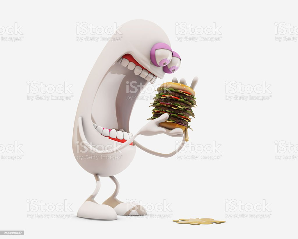 3d cartoon character eating hamburger, 3d rendering stock photo