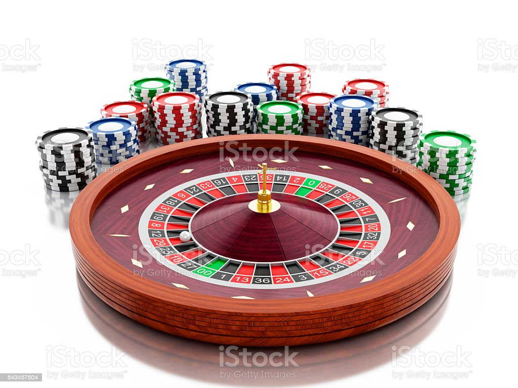 3d Casino roulette wheel with chips. stock photo