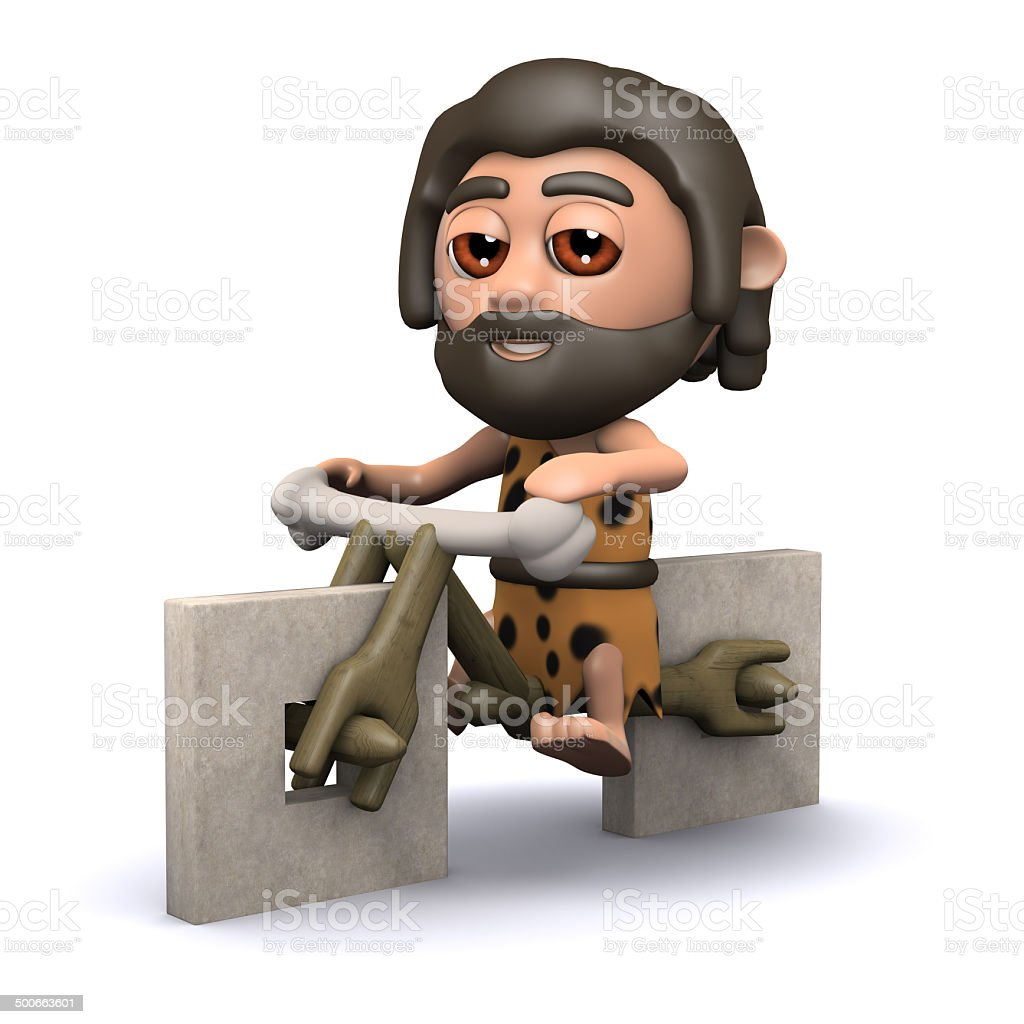 3d Caveman has a new bicycle stock photo