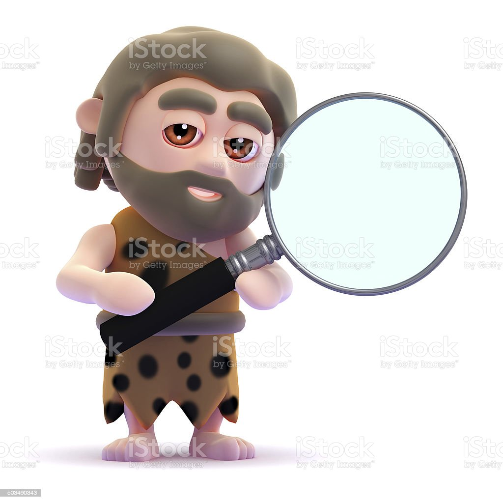 3d Caveman looks through a magnifying glass stock photo
