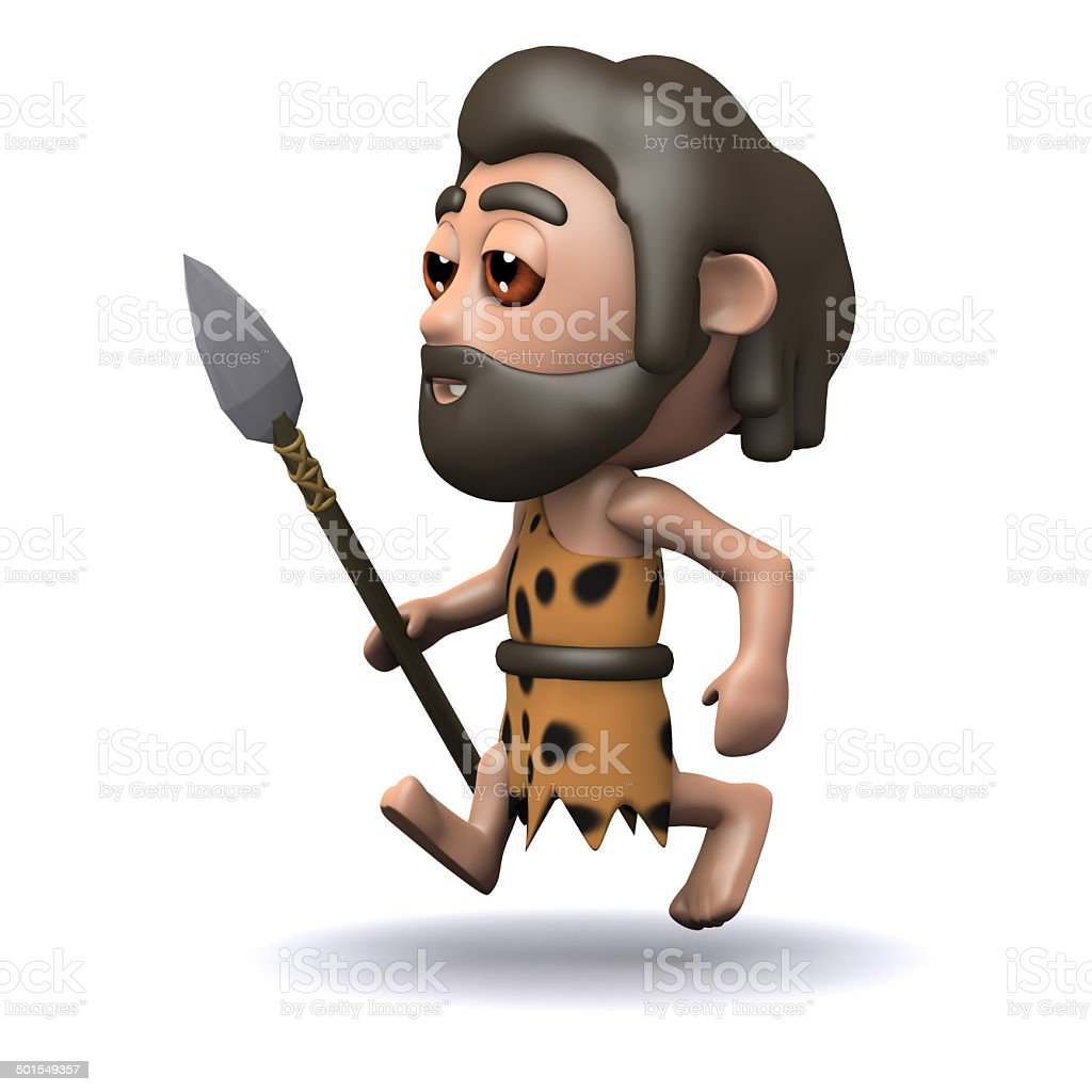 3d Caveman running with a spear stock photo