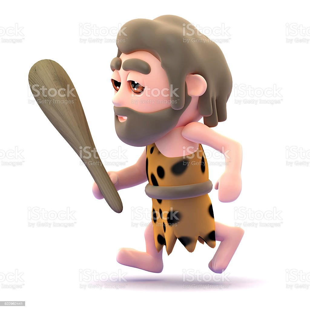 3d Caveman running with club in hand stock photo