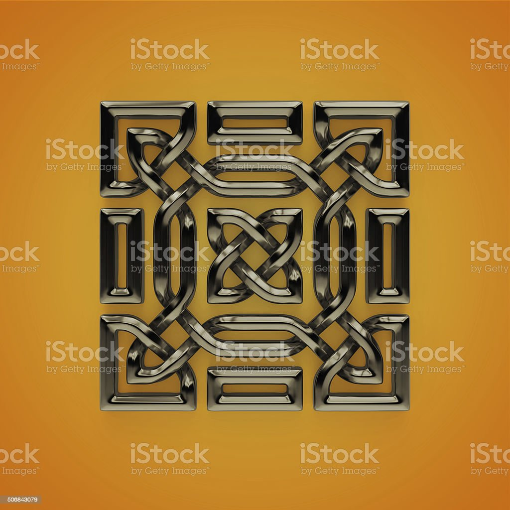 3d Celtic frame with twisted border, design element stock photo