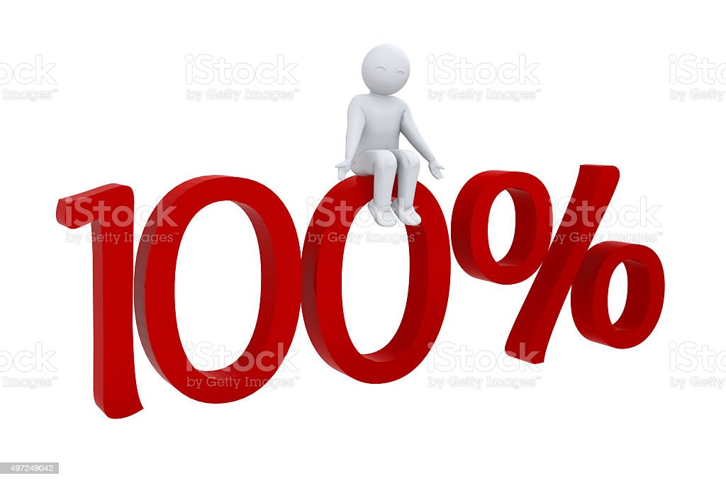 3d character sits on 100 percent stock photo