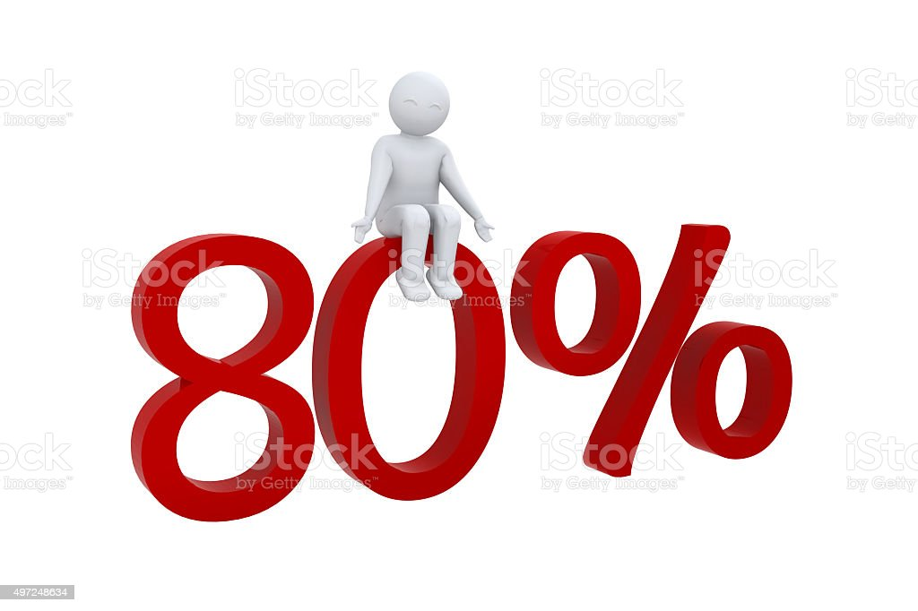 3d character sits on 80 percent stock photo