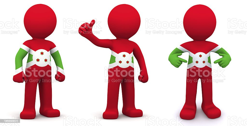 3d character textured with flag of Burundi stock photo