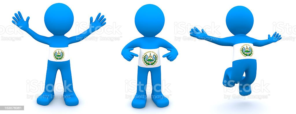 3d character textured with flag of El Salvador royalty-free stock photo