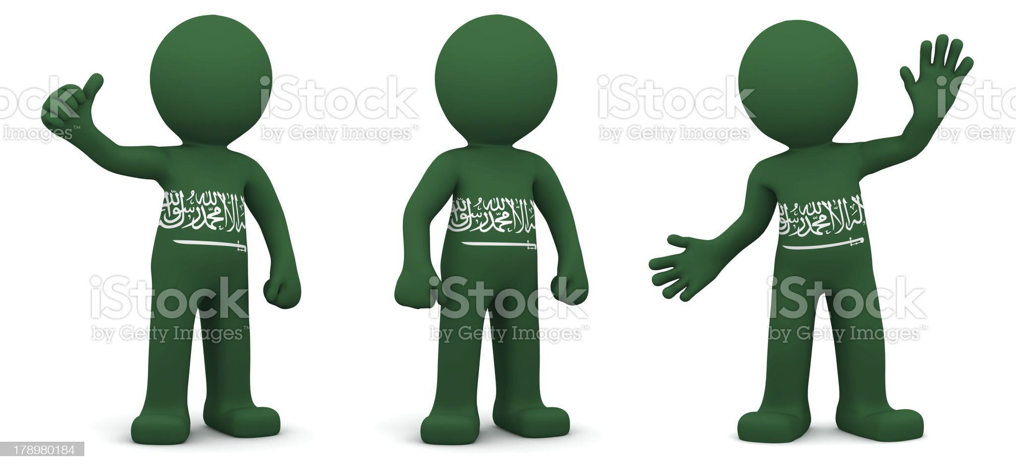 3d character textured with flag of Saudi Arabia royalty-free stock photo