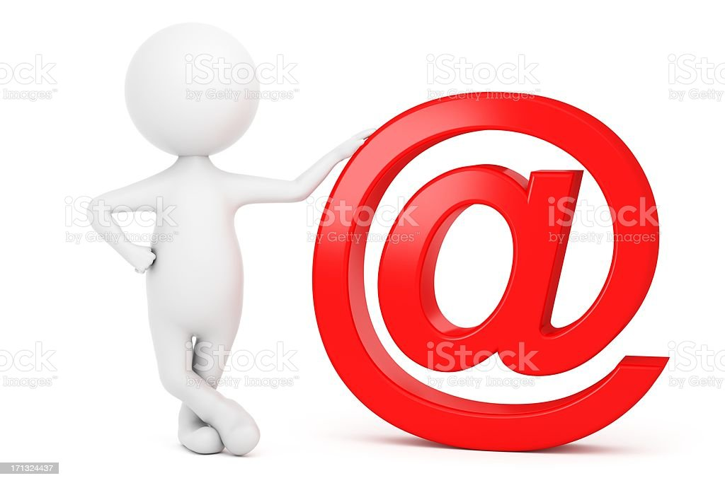3d Character with Email Symbol stock photo