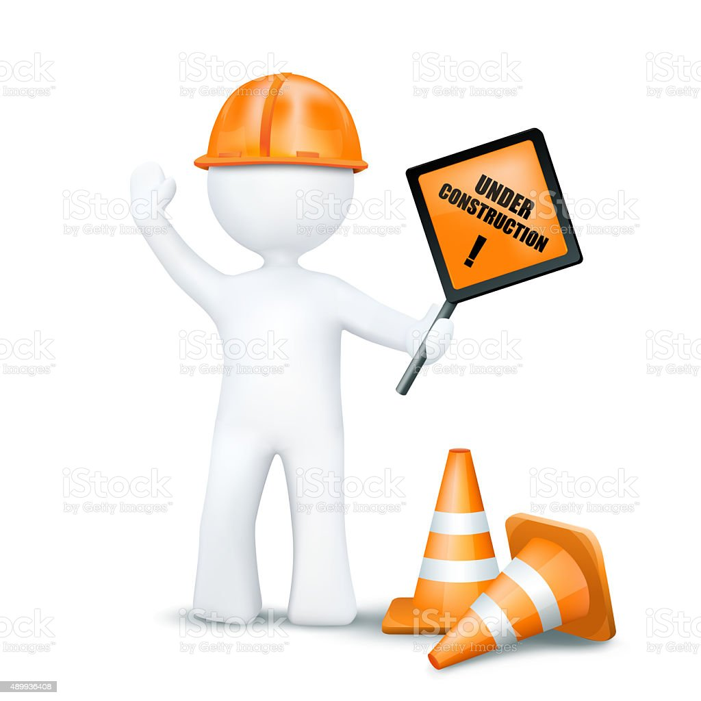 3d character with underconstruction elements stock photo