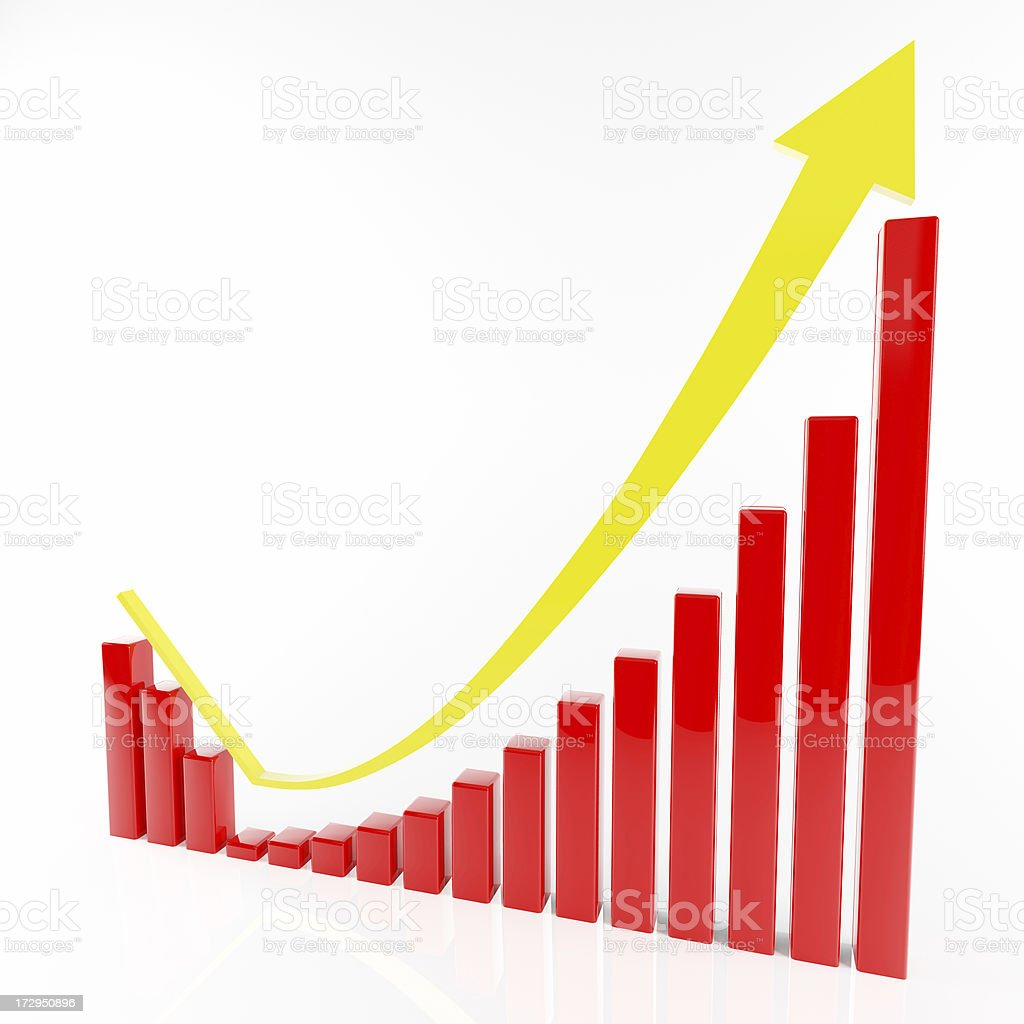 3d chart with fall and rebound trend stock photo