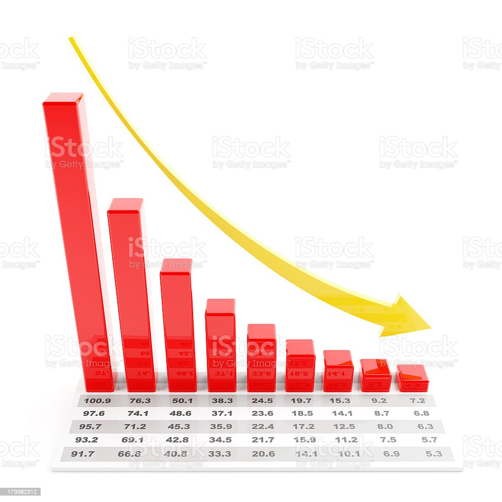 3d chart with falling trend royalty-free stock photo