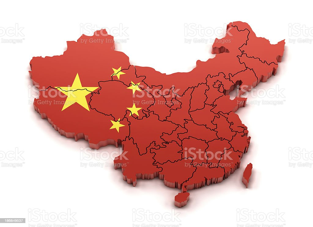 3d china map with provinces  and national flag royalty-free stock photo