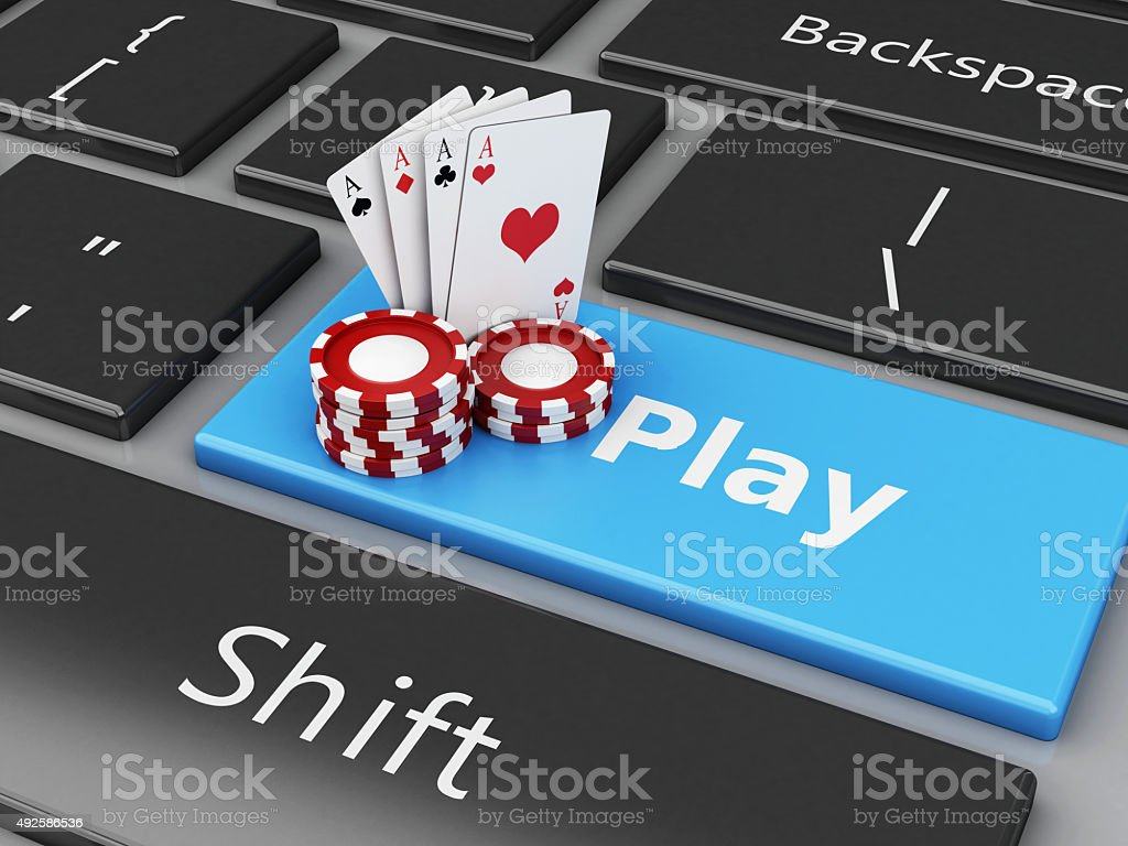 3d Chips and cards on the computer keyboard stock photo