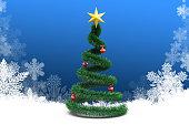 3d Christmas tree on winter background