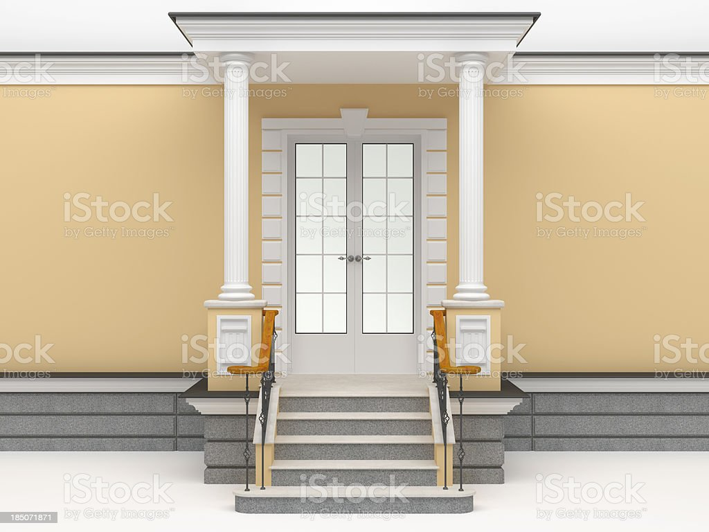 3d classic facade entrance template royalty-free stock photo