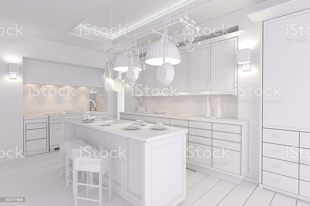 3d clay rander of a modern kitchen royalty-free stock photo