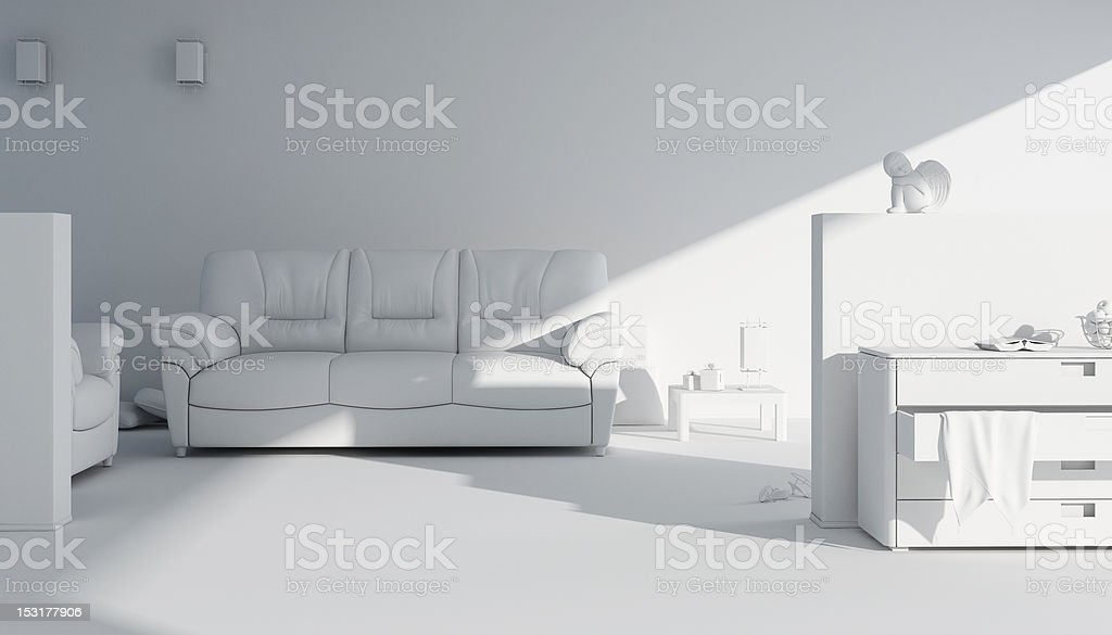 3d clay render of a modern interior design royalty-free stock photo