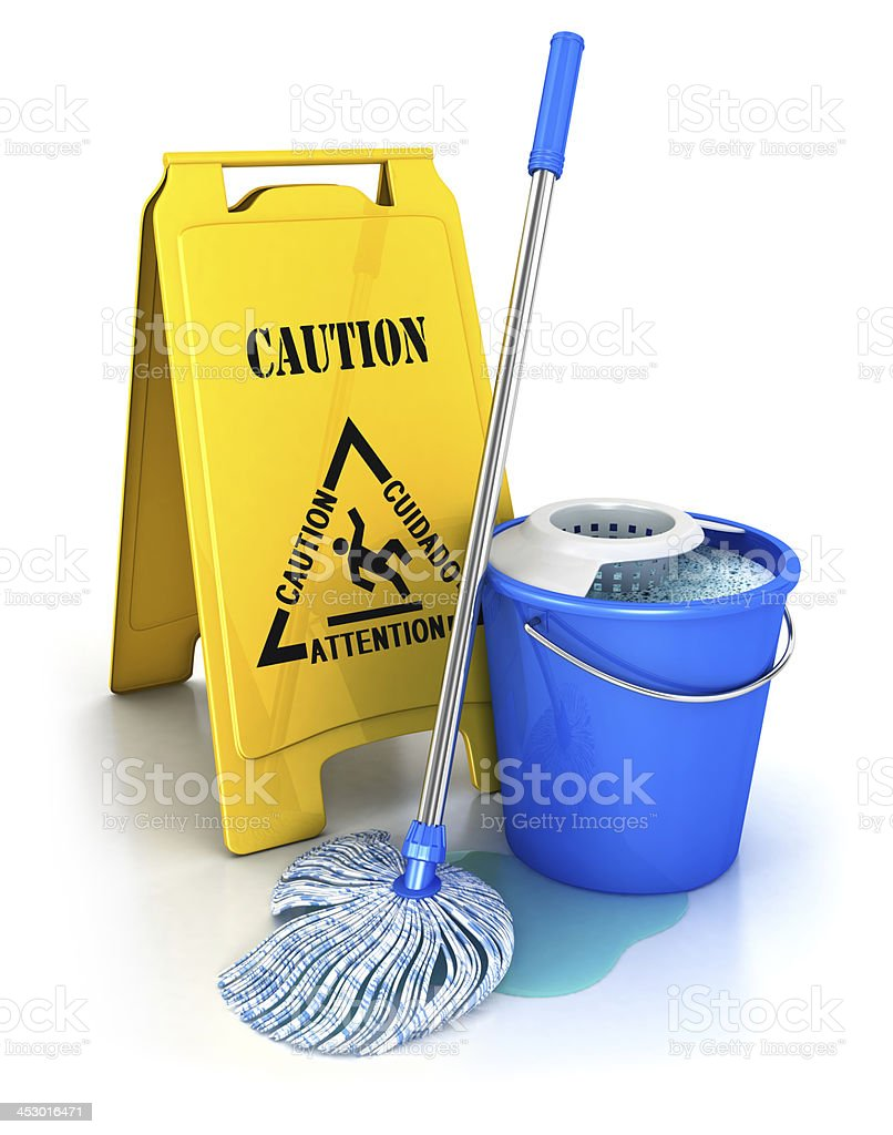 3d cleaning equipment stock photo