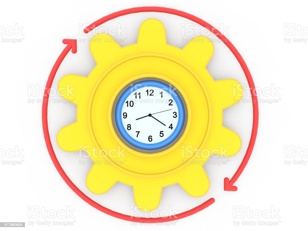 3d clock gear and arrows stock photo
