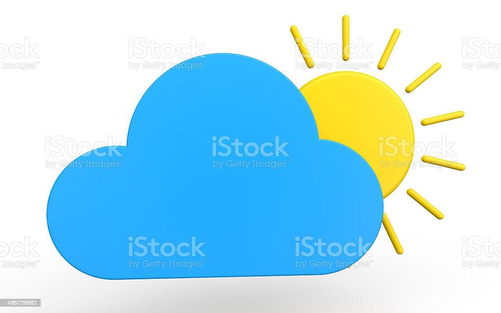 3d cloud and sun stock photo