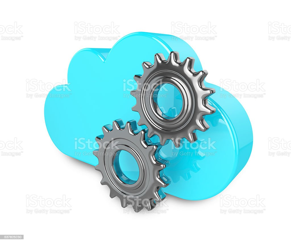 3d cloud with gears isolated on white background stock photo