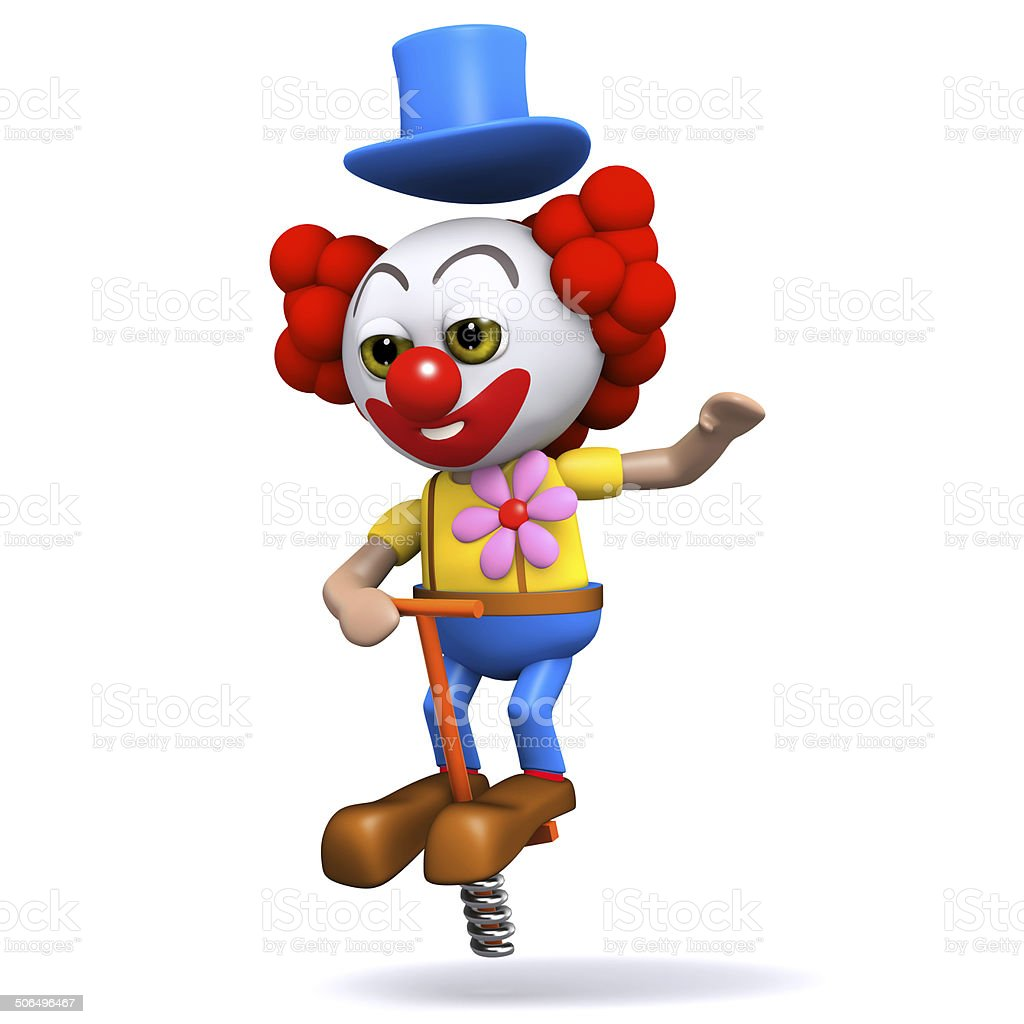 3d Clown bouncing on a pogo stick stock photo