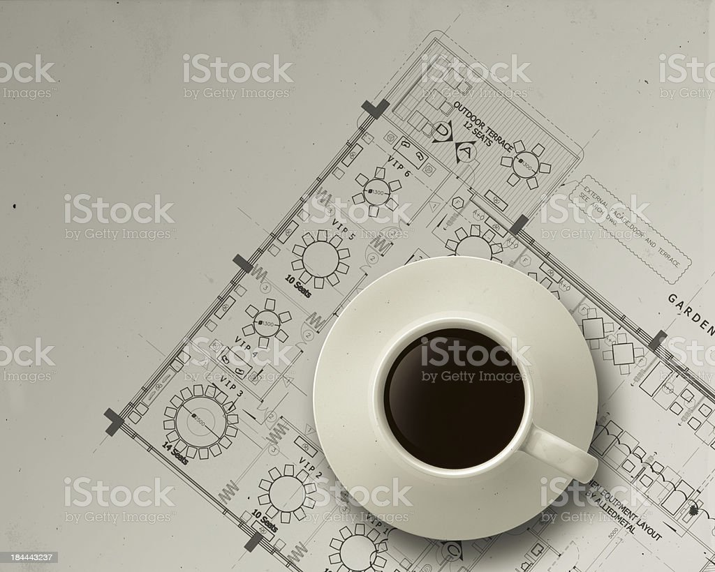 3d coffee cup on engineer architectural blue print royalty-free stock photo