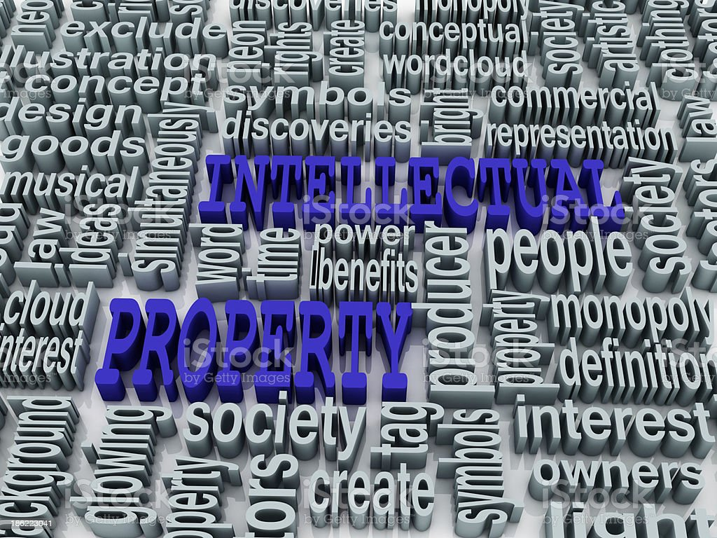 3d collage of Intellectual property and related words royalty-free stock photo
