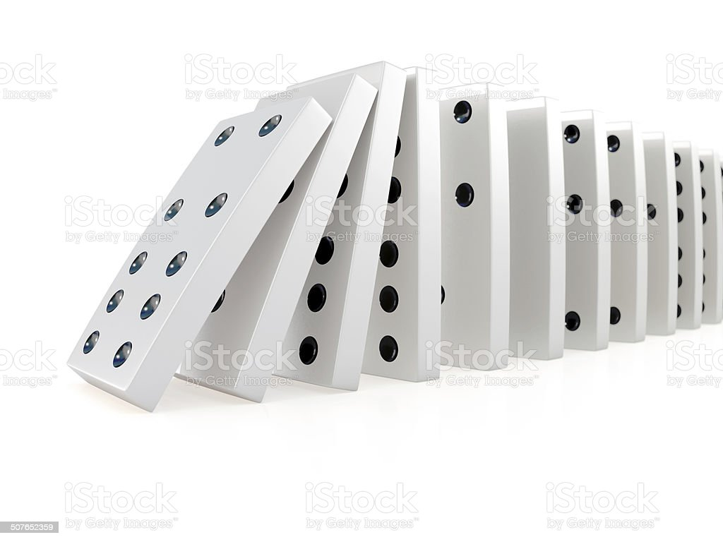3d Collapsing chain of dominoes stock photo