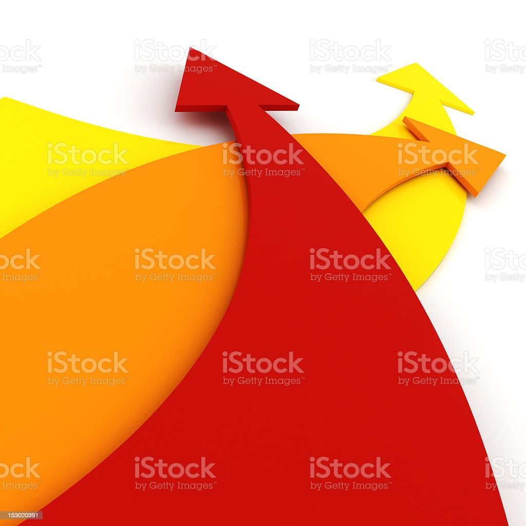 3d colorful arrrows, on white background stock photo
