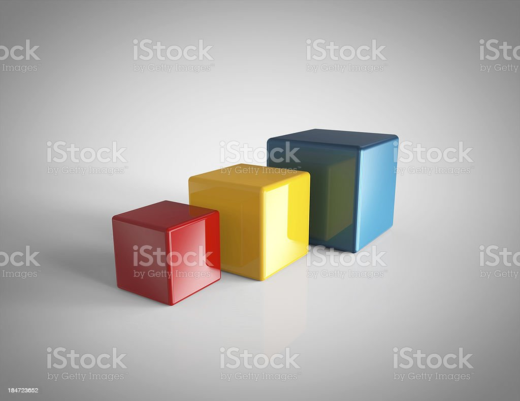 3d Colorful Cubes royalty-free stock photo