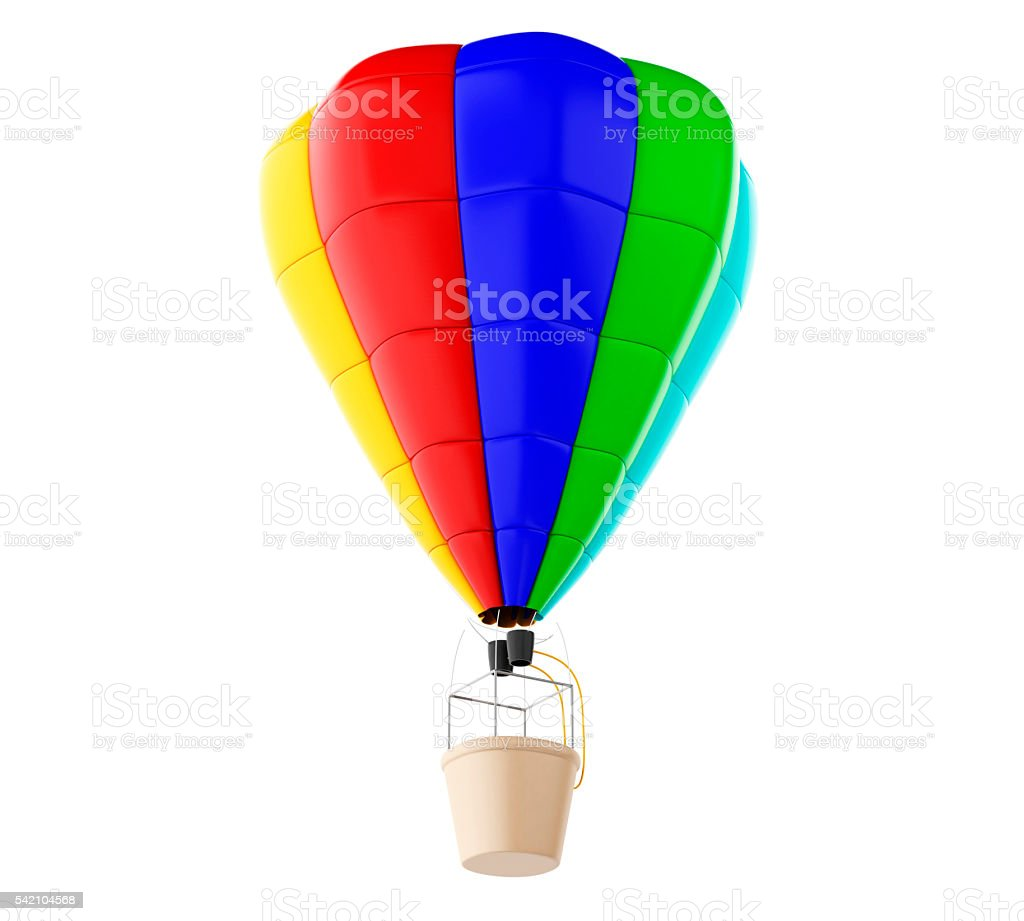 3d Colorful hot air ballon. Isolated white background. stock photo