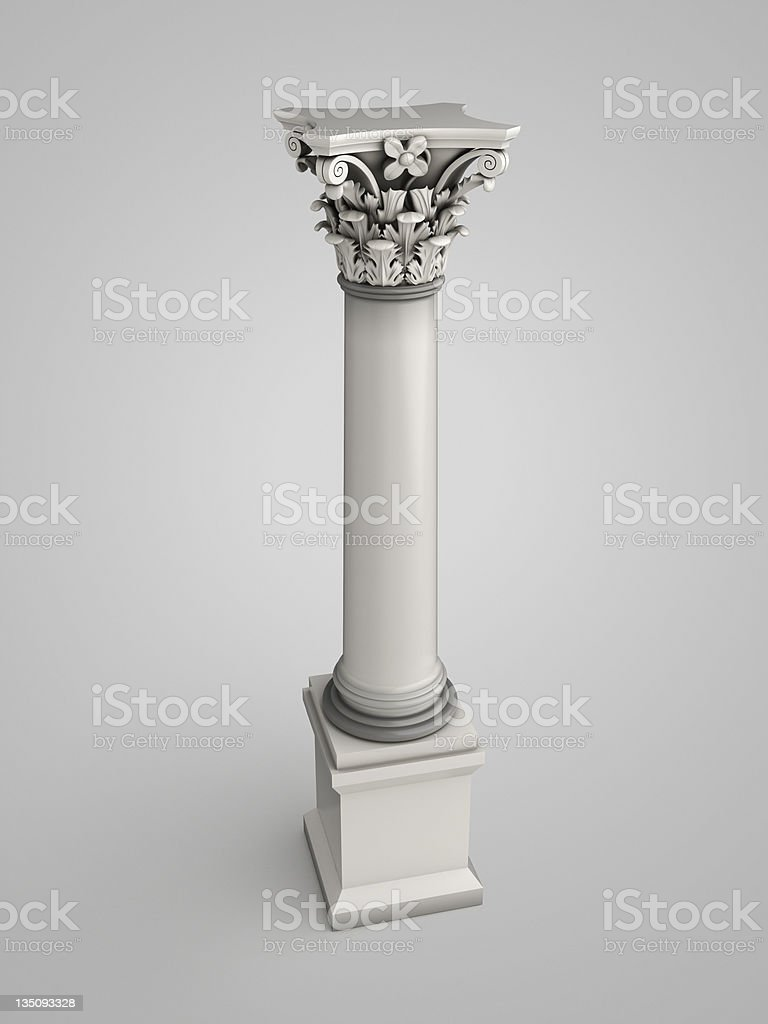 3d column with floral ornaments royalty-free stock photo